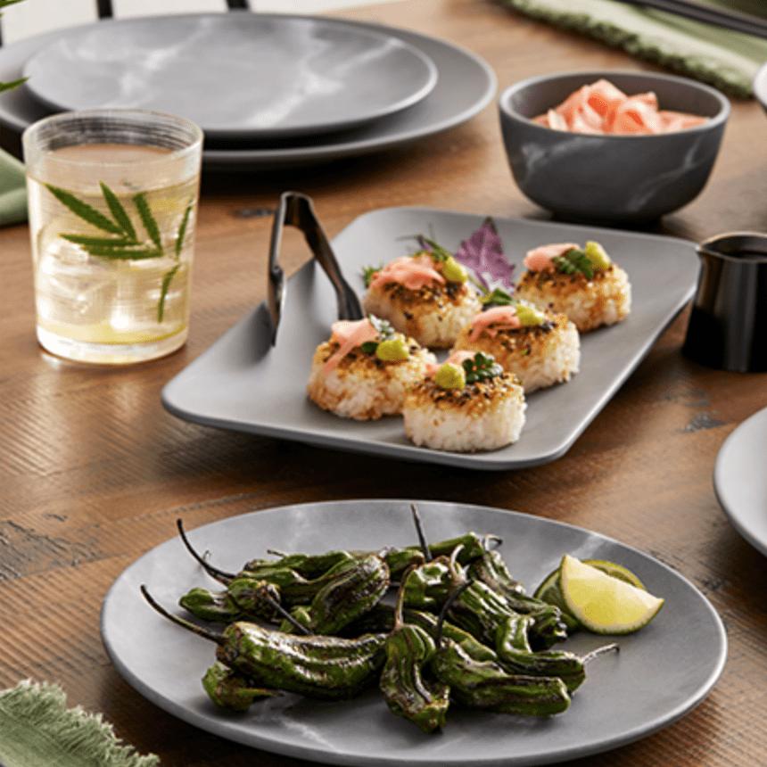 melamine dinnerware at a table