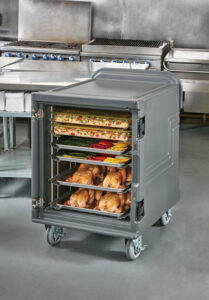 Cart with meals inside for commercial food transportation