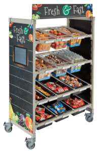 food on a cart for school meals