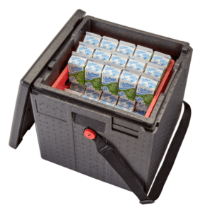 crate with milk cartons in it for school meals